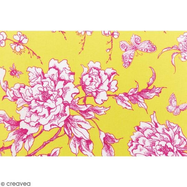 Tissu Rico - Toile de Jouy - Fleurs de Cerisier Roses - fond Jaune - Par 10 cm (sur mesure) - Photo n°3
