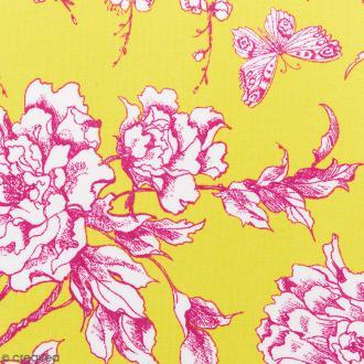 Tissu Rico - Toile de Jouy - Fleurs de Cerisier Roses - fond Jaune - Par 10 cm (sur mesure)