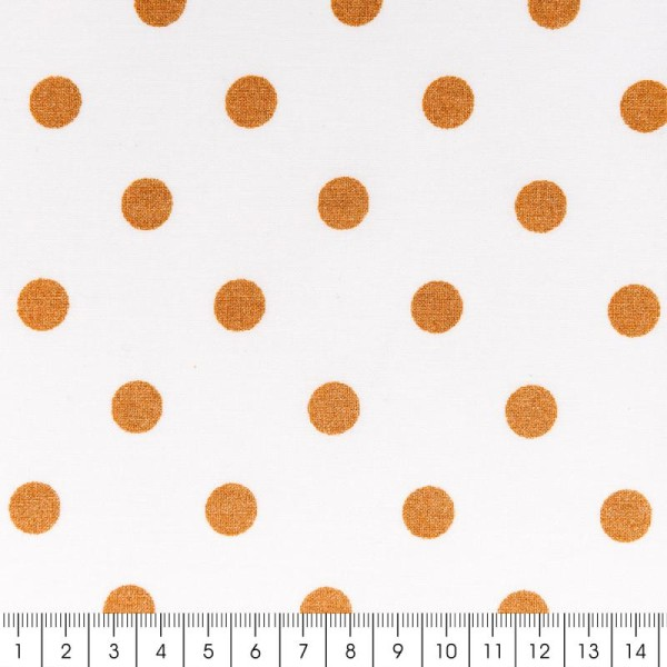 Tissu Rico - Toile de Jouy - Petits Pois Or - fond Blanc - Par 10 cm (sur mesure) - Photo n°2