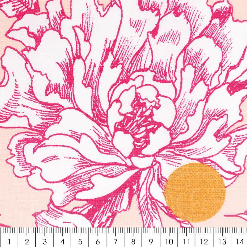 Tissu Rico - Toile de Jouy - Fleurs de Cerisier Roses - fond Poudré - Par 10 cm (sur mesure) - Photo n°2
