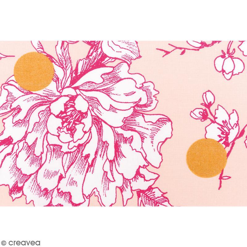 Tissu Rico - Toile de Jouy - Fleurs de Cerisier Roses - fond Poudré - Par 10 cm (sur mesure) - Photo n°3
