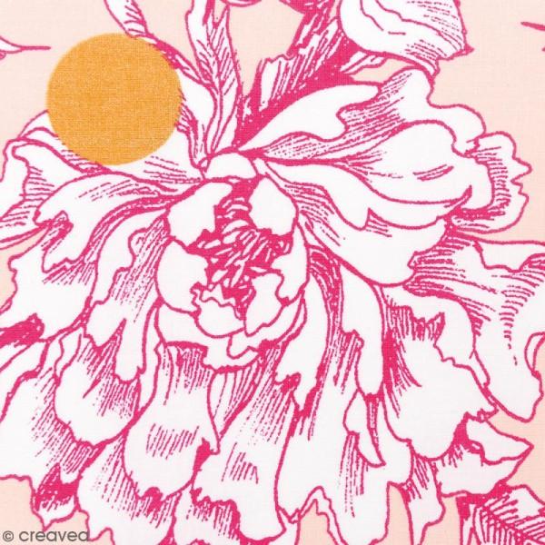 Tissu Rico - Toile de Jouy - Fleurs de Cerisier Roses - fond Poudré - Par 10 cm (sur mesure) - Photo n°1