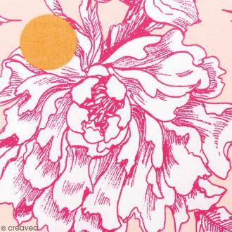Tissu Rico - Toile de Jouy - Fleurs de Cerisier Roses - fond Poudré - Par 10 cm (sur mesure)