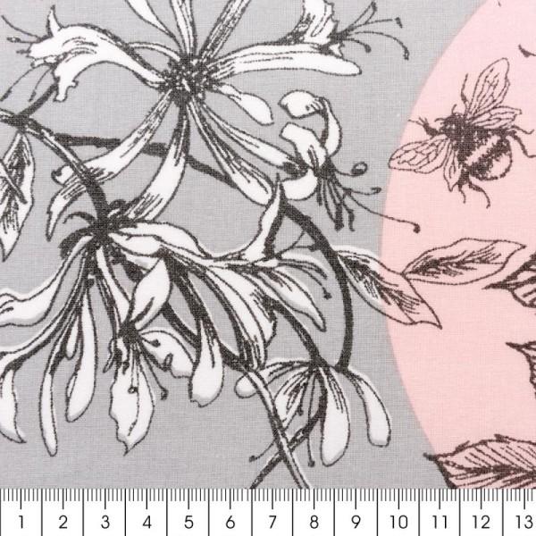 Tissu Rico - Toile de Jouy - Oiseaux - fond Gris et Rose - Par 10 cm (sur mesure) - Photo n°2