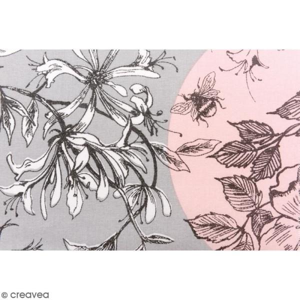 Tissu Rico - Toile de Jouy - Oiseaux - fond Gris et Rose - Par 10 cm (sur mesure) - Photo n°3