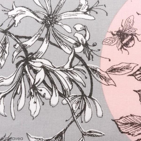 Tissu Rico - Toile de Jouy - Oiseaux - fond Gris et Rose - Par 10 cm (sur mesure) - Photo n°1