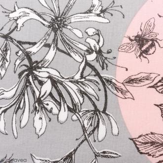 Tissu Rico - Toile de Jouy - Oiseaux - fond Gris et Rose - Par 10 cm (sur mesure)