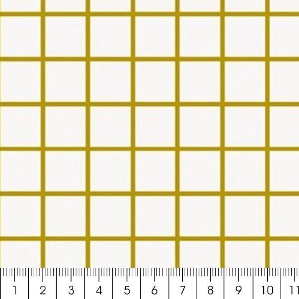 Tissu Rico - Toile de Jouy - Petits carreaux dorés - fond Blanc - Par 10 cm (sur mesure) - Photo n°2