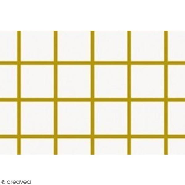 Tissu Rico - Toile de Jouy - Petits carreaux dorés - fond Blanc - Par 10 cm (sur mesure) - Photo n°3