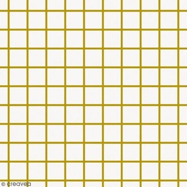 Tissu Rico - Toile de Jouy - Petits carreaux dorés - fond Blanc - Par 10 cm (sur mesure) - Photo n°1