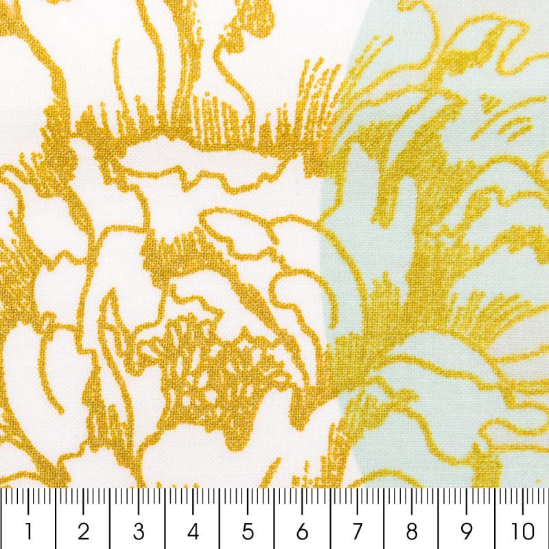 Tissu Rico - Toile de Jouy - Fleurs de Cerisier - fond Poudré et Menthe - Par 10 cm (sur mesure) - Photo n°2