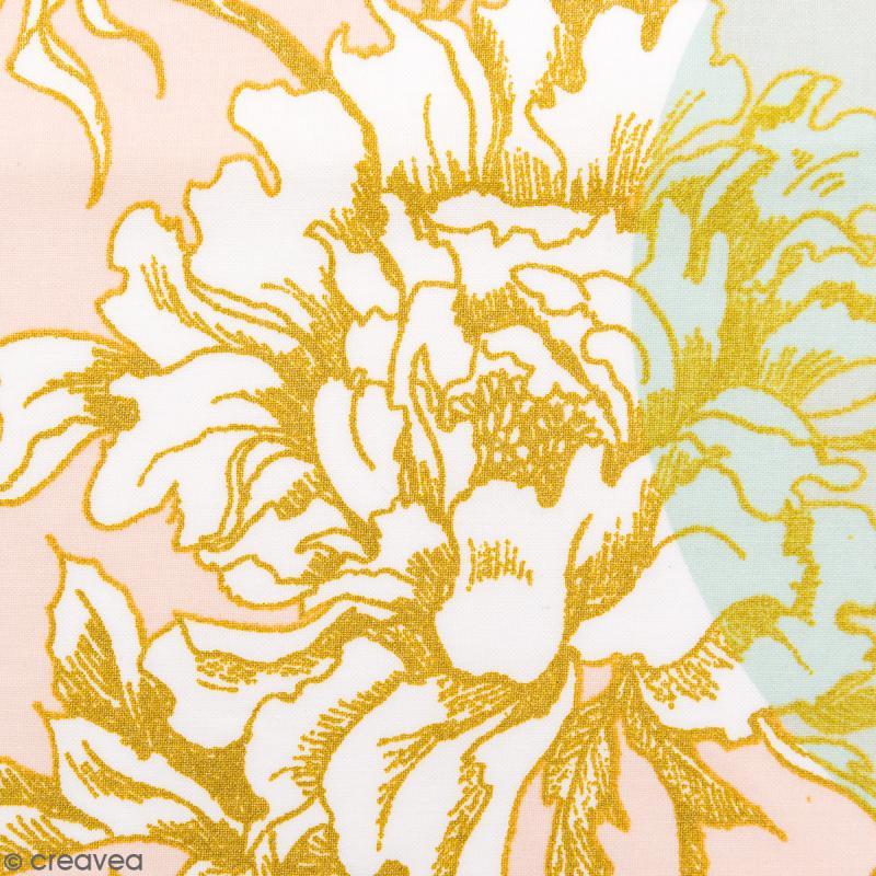 Tissu Rico - Toile de Jouy - Fleurs de Cerisier - fond Poudré et Menthe - Par 10 cm (sur mesure) - Photo n°1