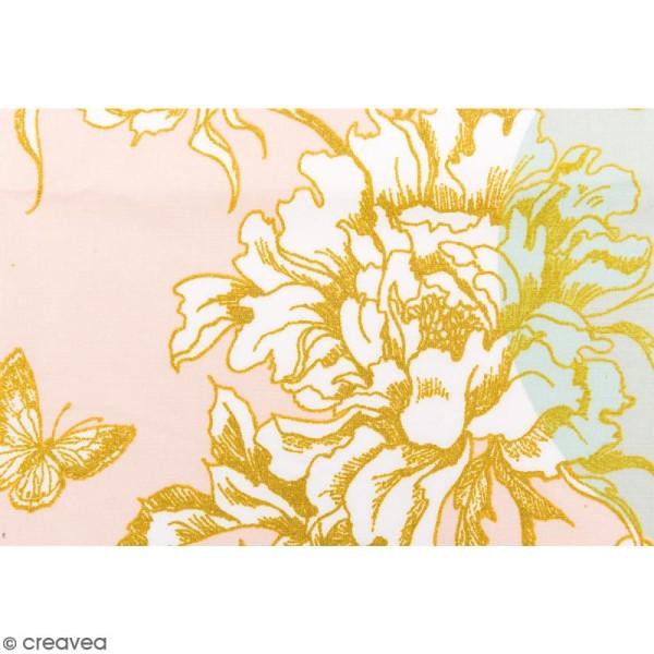 Tissu Rico - Toile de Jouy - Fleurs de Cerisier - fond Poudré et Menthe - Par 10 cm (sur mesure) - Photo n°3