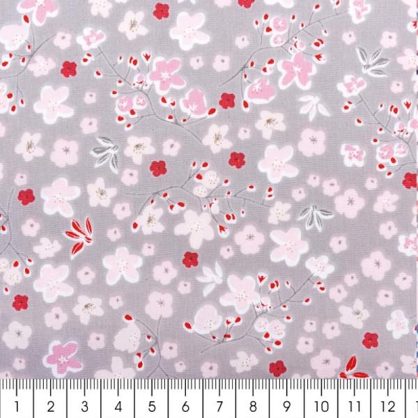 Tissu Rico - Toile de Jouy - Vrille de Fleurs - fond Gris - Par 10 cm (sur mesure) - Photo n°2