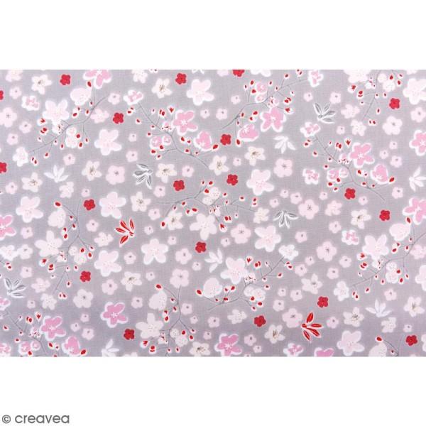Tissu Rico - Toile de Jouy - Vrille de Fleurs - fond Gris - Par 10 cm (sur mesure) - Photo n°3