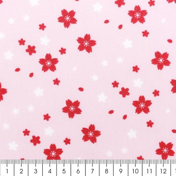 Tissu Rico - Toile de Jouy - Petites Fleurs - fond Rose - Par 10 cm (sur mesure) - Photo n°2