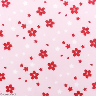 Tissu Rico - Toile de Jouy - Petites Fleurs - fond Rose - Par 10 cm (sur mesure)