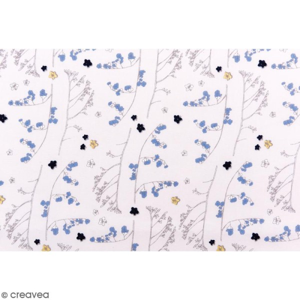 Tissu Rico - Toile de Jouy - Fleurs Sauvages - fond Gris et Doré - Par 10 cm (sur mesure) - Photo n°3