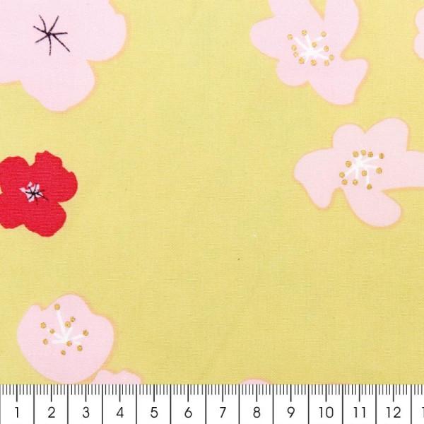 Tissu Rico - Toile de Jouy - Grandes Fleurs - fond Vert - Par 10 cm (sur mesure) - Photo n°2