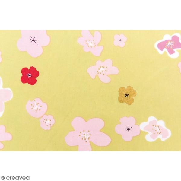 Tissu Rico - Toile de Jouy - Grandes Fleurs - fond Vert - Par 10 cm (sur mesure) - Photo n°3