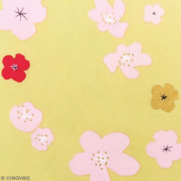 Tissu Rico - Toile de Jouy - Grandes Fleurs - fond Vert - Par 10 cm (sur mesure) - Photo n°1