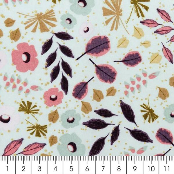 Tissu Rico - Toile de Jouy - Feuillages - fond Menthe - Par 10 cm (sur mesure) - Photo n°2