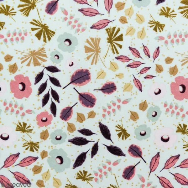 Tissu Rico - Toile de Jouy - Feuillages - fond Menthe - Par 10 cm (sur mesure) - Photo n°1