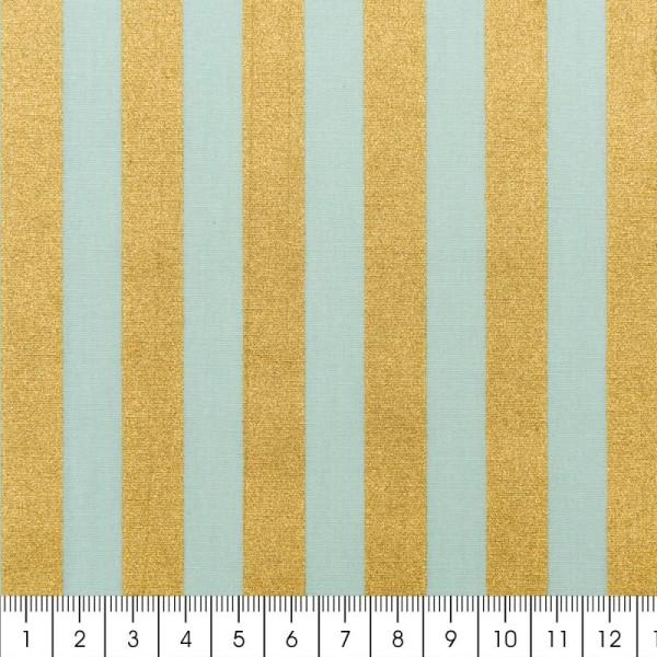 Tissu Rico - Toile de Jouy - Rayures Dorées - fond Menthe - Par 10 cm (sur mesure) - Photo n°2