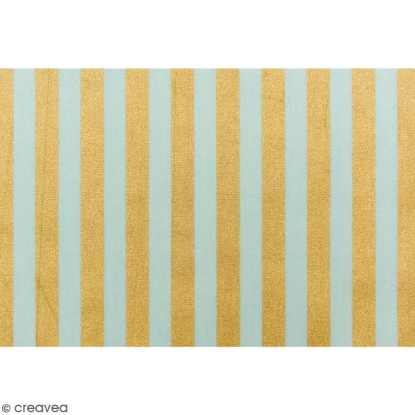 Tissu Rico - Toile de Jouy - Rayures Dorées - fond Menthe - Par 10 cm (sur mesure) - Photo n°3