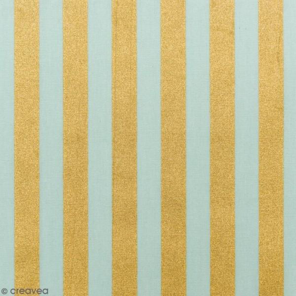Tissu Rico - Toile de Jouy - Rayures Dorées - fond Menthe - Par 10 cm (sur mesure) - Photo n°1