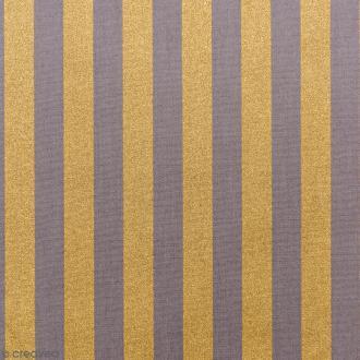 Tissu Rico - Toile de Jouy - Rayures Dorées - fond Gris - Par 10 cm (sur mesure)