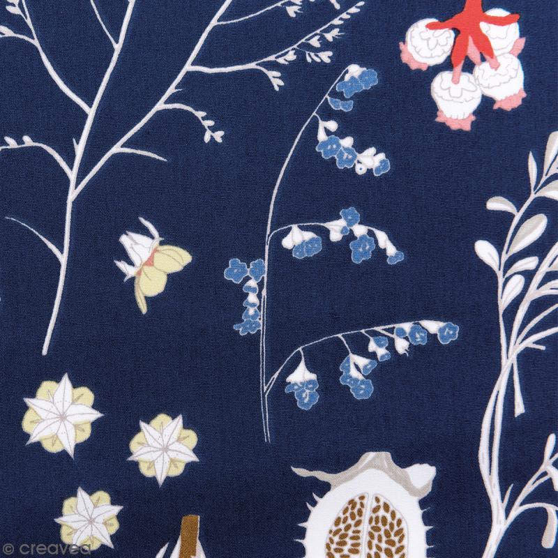 Tissu Rico - Toile de Jouy - Fleurs Sauvages - fond Bleu - Par 10 cm (sur mesure) - Photo n°1
