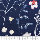 Tissu Rico - Toile de Jouy - Fleurs Sauvages - fond Bleu - Par 10 cm (sur mesure) - Photo n°2
