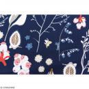 Tissu Rico - Toile de Jouy - Fleurs Sauvages - fond Bleu - Par 10 cm (sur mesure) - Photo n°3