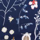 Tissu Rico - Toile de Jouy - Fleurs Sauvages - fond Bleu - Par 10 cm (sur mesure)