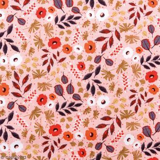 Tissu Rico - Toile de Jouy - Feuillages - fond Abricot - Par 10 cm (sur mesure)
