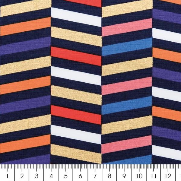 Tissu Rico - Toile de Jouy - Rayures - fond Multicolore - Par 10 cm (sur mesure) - Photo n°2