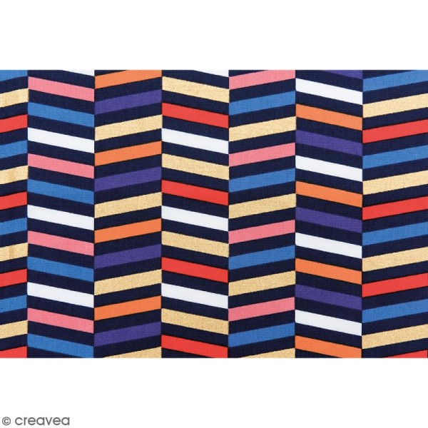 Tissu Rico - Toile de Jouy - Rayures - fond Multicolore - Par 10 cm (sur mesure) - Photo n°3