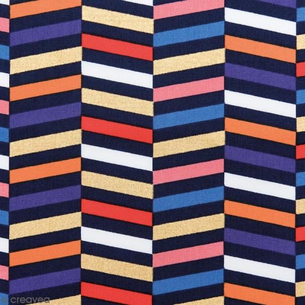 Tissu Rico - Toile de Jouy - Rayures - fond Multicolore - Par 10 cm (sur mesure) - Photo n°1