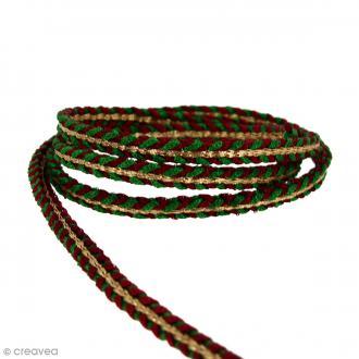 Cordon Vert rouge et doré - 7 mm - Au mètre (Sur mesure)