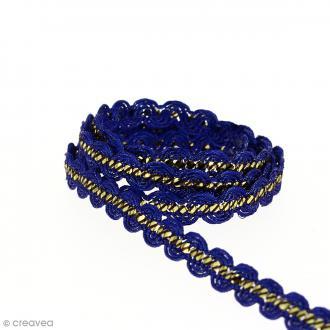 Galon ethnique - Bleu et doré - 10 mm - Au mètre (Sur mesure)
