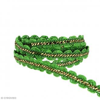 Galon ethnique - Vert et doré - 10 mm - Au mètre (Sur mesure)