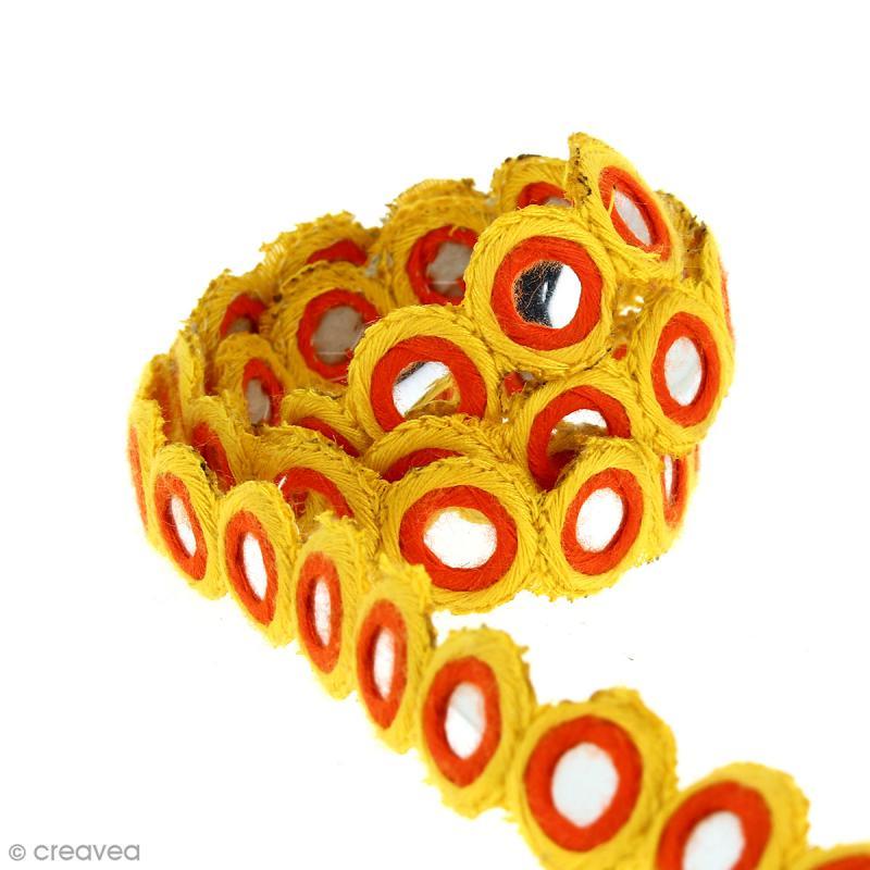 Galon ethnique jaune avec facettes miroir 15 mm au for Acheter miroir sur mesure