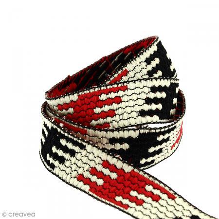 Galon ethnique - Rouge blanc et noir - 20 mm - Au mètre (Sur mesure) - Photo n°1