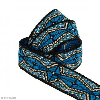 Galon ethnique - Bleu géométrique - 20 mm - Au mètre (Sur mesure)