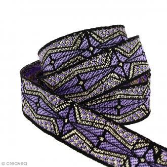Galon ethnique - Violet clair géométrique - 20 mm - Au mètre (Sur mesure)