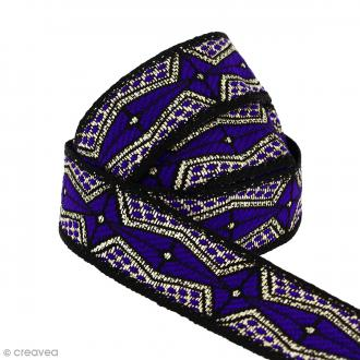 Galon ethnique - Violet foncé géométrique - 20 mm - Au mètre (Sur mesure)