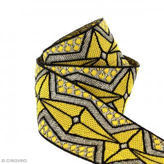 Galon ethnique - Jaune motifs géométriques - 45 mm - Au mètre (Sur mesure)