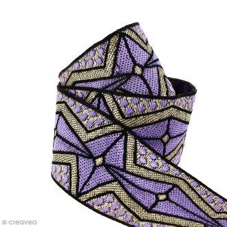 Galon ethnique - Violet motifs géométriques - 45 mm - Au mètre (Sur mesure)