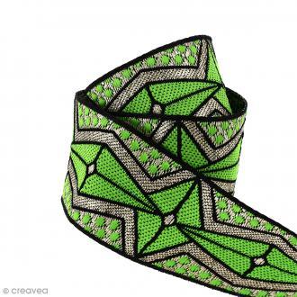 Galon ethnique - Vert motifs géométriques - 45 mm - Au mètre (Sur mesure)
